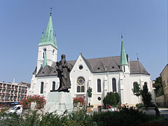 Statue of Lajos Kossuth Hungarian politician at the Roman Catholic Cathedral of Kaposvár - Kaposvár, Hungary