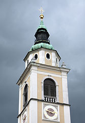 "The steeple of the Cathedral of St. Nicholas (""Stolna Cerkev Sv. Nikolaja"") - Ljubljana, Slovenia"