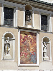 Mural (wall painting) on the facade of the Cathedral of St. Nicholas - Ljubljana, Slovenia