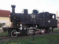 A steam locomotive from the MÁV 376 series near the train station, as a part of the railway history exhibition - Mátészalka, Hungary