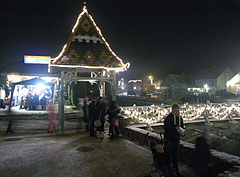 Christmas celebrations in the main square at night - Mogyoród, Hungary