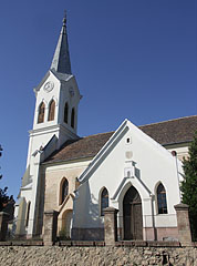 The Romanesque nave and southern side of the 15th-century Saint Barbara's Reformed Protestant Church - Nagyharsány, Hungary
