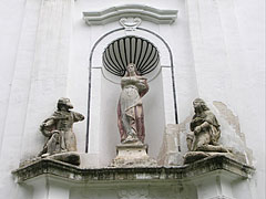 Statues above the entrance of the St. Stephen's Roman Catholic Church - Nagyvázsony, Hungary