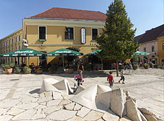 In 2001 the Jókai Square was renovated, it became a pedestrian zone and got a nice cleaved limestone cladding - Pécs, Hungary
