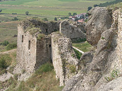 The survived wall remains of the so-called Italian bastion from around 1530, viewed from a cliff in the Upper Castle - Sirok, Hungary