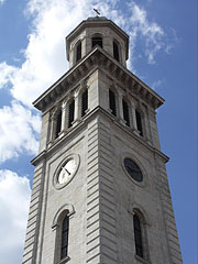 The steeple (church tower) of the baroque Evangelical Lutheran Church - Sopron, Hungary