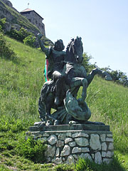 Statue of St. George the Dragon Slayer on the castle hill - Sümeg, Hungary