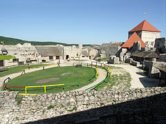 The courtyard of the inner castle with a paddock for the horses - Sümeg, Hungary