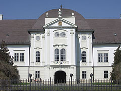 The white Forgách Mansion seems to be shine in the spring sunshine - Szécsény, Hungary