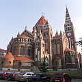 The neo-romanesque style red brick Votive Church and Cathedral of Our Lady of Hungary, viewed from the rear, from the apse - Szeged, Hungary