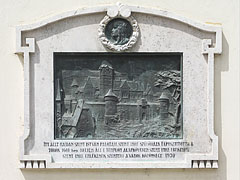 Memorial plaque of Saint Stephen's Palace, relief on the wall of the Franciscan church - Székesfehérvár, Hungary