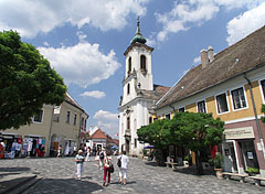 "Main square of Szentendre, with the Blagovestenska Serbian Orthodox Church (""Greek Church"") - Szentendre, Hungary"