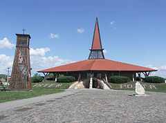 The contemporary Roman Catholic Church of St. Joseph the Worker, on its left it is the separate wooden belfry of it - Szerencs, Hungary