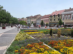 Flowers, fountain and colored houses in the renewed main square - Szombathely, Hungary