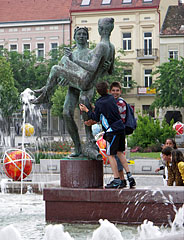 "Happy kids on the ""Fauns"" Fountain - Szombathely, Hungary"