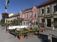 A small park with flowers and colorful houses in the main square - Tapolca, Hungary