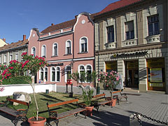 Long shadows in the late afternoon in the main square - Tapolca, Hungary
